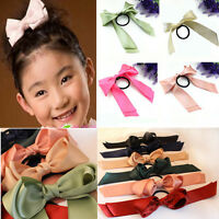 Women colors Satin Ribbon Bow Hair Band Rope Scrunchie Ponytail Holder HOT