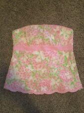 Lilly Pulitzer Butterfly Floral Strapless Top Size 6