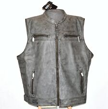 Harley Davidson Men Veer 5XL Distressed Charcoal Midweight Leather Vest Zip New