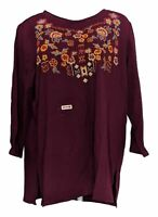 Antthony Women's Plus Sz Top 1X Floral Embellished 3/4 Sleeve Tee Red 677-725