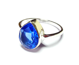 Blue Sapphire Gemstone 925 Silver Handmade Jewelry Ring G-341