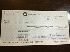 CLINT EASTWOOD WARNER BROS. 1984 PAYCHECK (NEARLY 53K) LOS ANGELES