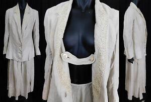 Vintage Edwardian Embroidered Soutache Braid Linen Walking Suit Jacket & Skirt