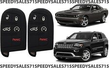 PAIR Black Rubber Smart Key Fob Remote Case Cover For Jeep Dodge Chrysler New