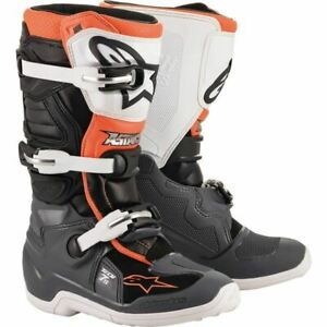 Alpinestars Tech 7s Youth Boots - Black/Grey/White/Flo Orange, All Sizes