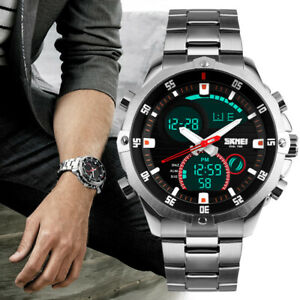 SKMEI Mens Sports Military Watch Analogue Digital Quartz Stainless Steel Watches