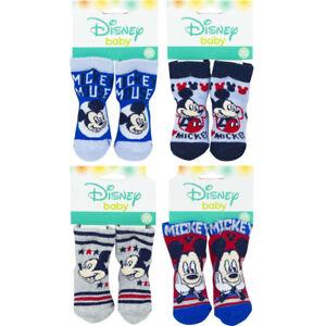 disney baby mickey mouse 4 paia calzini neonati taglia 0-6 mesi 6-12 mesi