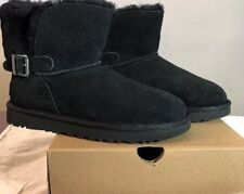 UGG KAREL METAL BUCKLE BLACK 1019639 SUEDE SHEEPSKIN BOOTS SZ 5 NEW