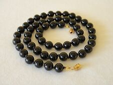 """10mm Black Onyx Necklace 21"""" Knotted Genuine Natural 10 mm Black Onyx Beads"""