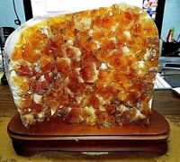 LARGE CITRINE CRYSTAL CLUSTER  CATHEDRAL GEODE  BRAZIL W/ STEEL STAND;
