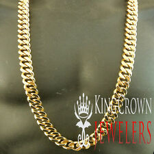 Mens 14k Yellow Gold Finish Miami Cuban Link Chain Necklace 38 Inch 490 + Grams