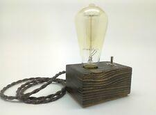 Industrial Vintage Retro Wooden Table Desk Lamp Edison Light Handmade