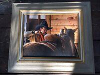 NO REVOLVE Spanish Cowboy Art Framed Canvas Print by AVILA Closeup Horse 16 x 20