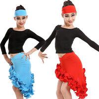 Girls Latin Salsa Dancewear Dress Kids Ballroom Dance Costumes Top&Hemming Skirt