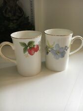 Royal Canterbury Fine Bone China Cups 2 Red Strawberry Plants And Purple Violets