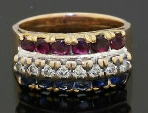 Vintage heavy 14K gold 1.40CTW VS/G diamond/ruby/sapphire cluster cocktail ring