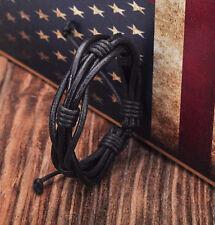 Cool Black Surfer Leather Hemp Friendship Bracelet Bangle Men's Wristband