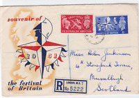 festival of britain 1951 registered illustrated stamps cover  ref r14518