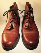 Vtg Men's Sz 11 CR Brown Leather  Lace Up Hiking Boots Made In Italy Buckle