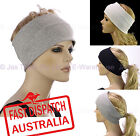 Ladies Chemo Hair Loss Stretch Cotton Lining Ear Warmers Sports Wide Headband