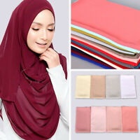 Women Plain Bubble Chiffon Scarf Hijab Wrap Shawls Head Muslim Scarves 63 Colors