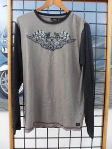 NOS Harley Davidson Mens Winged B&S Knuckle Long Sleeve Knit Shirt 96710-14VM
