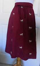 Vintage Maroon Cotton Gabardine Skirt Embroidered Horses W24 - 28