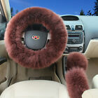 3Pcs Soft Long Plush Fuzzy Steering Wheel Cover Coffee Wool Handbrake Car Covers