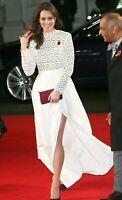 Self Portrait Pleated Crochet Lace Royal Wedding Maxi Long Dress Gown UK 6  US 2
