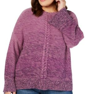 Style & Co. Womens Sweater Purple 3X Plus Cable Knit Marled Ombre $69 121