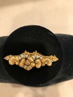 Miriam Haskell Golden Bead Glass Rhinestone Gold Plate Vintage Bar Brooch Pin
