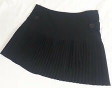 Size 9/10 cute black schoolgirl accordian mini skirt split front stretch