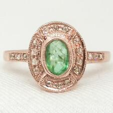 Genuine .65ctw Columbian Emerald & H-SI Diamond 14K Rose Gold 925 Silver Ring
