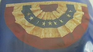 """American Flag Bunting - Antiqued Tea-stained Pleated Fan Bunting (48""""x25"""")"""