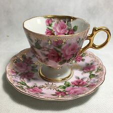 CASTLE JAPAN TEA CUP AND SAUCER FOOTED PINK ROSES GOLD TRIM BEAUTIFUL.