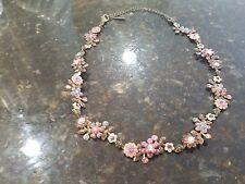 Sorrelli Fresh Flowers enamel and crystal necklace pinks purples EUC