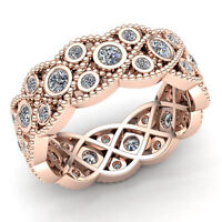 5 Ct Round Cut Diamond Ladies Personalized Milgrain Eternity Band Ring 14K Gold