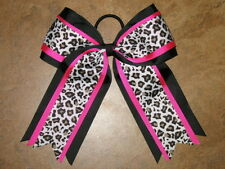 "NEW ""LEOPARD BLACK PINK"" Cheer Hair Bow Pony Tail 3 In Ribbon Girls Cheerleading"
