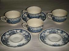 VINTAGE 7 PIECE BLUE & WHITE KENSINGTON BALMORAL 1801 CUPS & SAUCERS KENT 1792