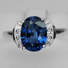 CHEERFUL! BLUE SAPPHIRE MAIN STONE 2.23 CT. & SAPPHIRE 925 SILVER RING SZ 6.25