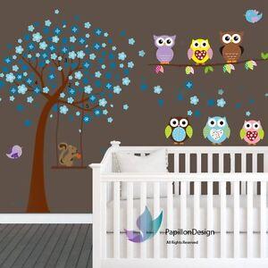 Blue Cherry Tree Flower Owls Squirrel  Baby Boy Girl Nursery wall Decal sticker