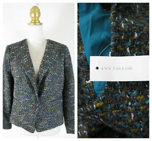 Ann Taylor Yellow Blue Brown Knit Tweed One Button Blazer 10 Career NWT $189