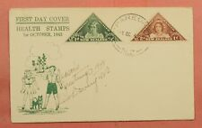 DR WHO 1943 NEW ZEALAND FDC #B22-3 HEALTH STAMPS TRIANGLES PAREORA 114658