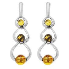 Orecchini di lusso con gemme farfalline tondi ambra