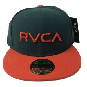 NWT RVCA New Era Fitted Hat Sz 7 1/8 Green Orange Minor League 59 Fifty