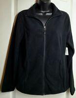 Essentials Women's Full-Zip Long Sleeve Polar Soft Fleece Black Jacket Size M