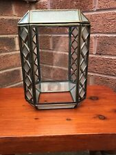 VINTAGE METAL AND  GLASS CEILING LIGHT SHADE