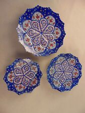 3x Persian Decorative Handmade Mina Kari Art Copper Enameled Wall Hanging Plates