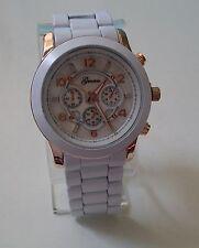 Rose Gold/White finish designer inspired style fashion Geneva link unisex watch