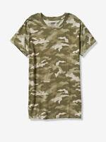 VICTORIA'S SECRET PINK PERFECT SHORT SLEEVE TEE TOP SHALE GREEN CAMO Large